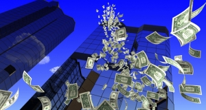 Photograph of money falling from a skyscraper.