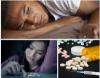 Photo collage of young man with pills, young woman with pills, and a photo of pills and syringe.