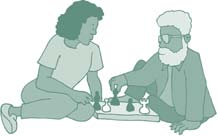 Clip art of a young person and an elder playing chess.