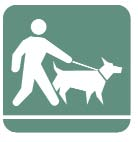 Clip art of a person walking a dog