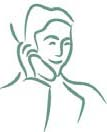 Clip art of an older person talking on the phone.