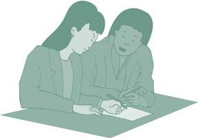 Clip art of two people looking over a piece of paper.