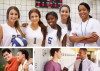 Photo collage of girls with volleyball coach, boy with mentor, and boy with teacher